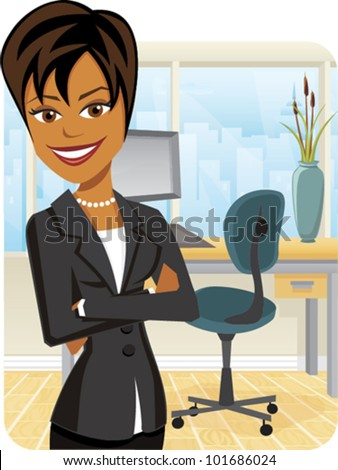 Cartoon of a business woman with arms crossed - stock vector