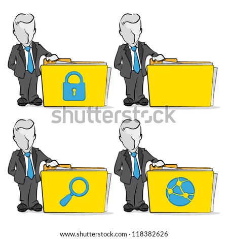 Cartoon of a businessman with folder. Computing concept.