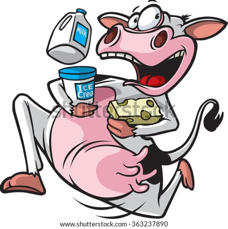 Cartoon of a cow running with milk, ice cream and cheese. Vector File. Running Cow  - stock vector