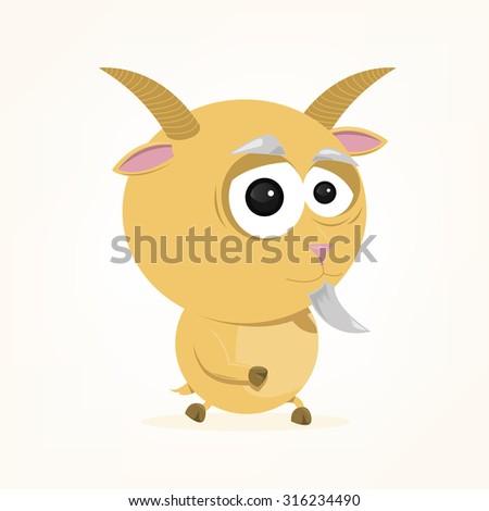cartoon of a cute goat - stock vector