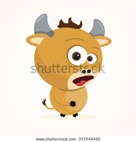 cartoon of a cute ox - stock vector