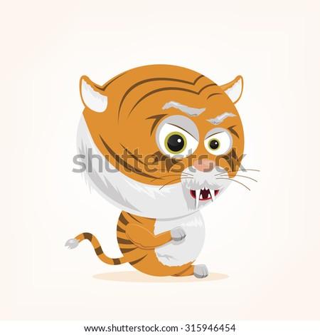 cartoon of a cute tiger - stock vector