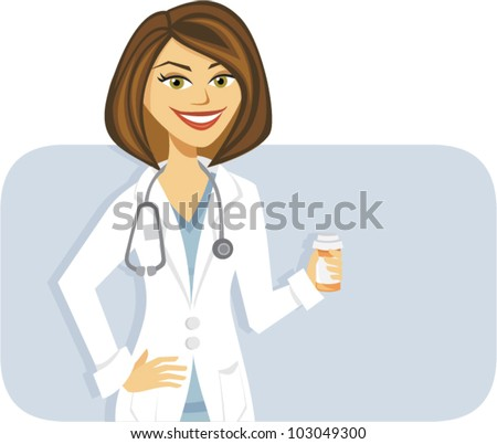 Cartoon of a female doctor with prescription medicine - stock vector