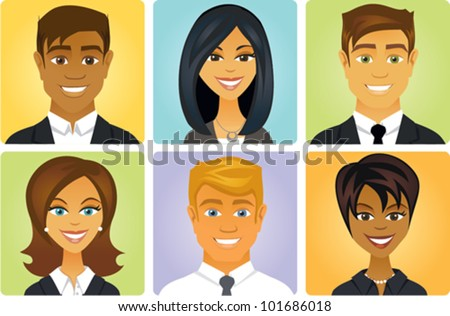 Cartoon of a group of business people avatars - stock vector