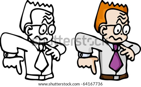 Cartoon of a jittery red-haired business man in B&W and color. - stock vector