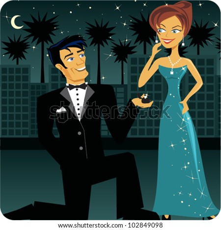 Cartoon of a man proposing to a woman in formal attire - stock vector