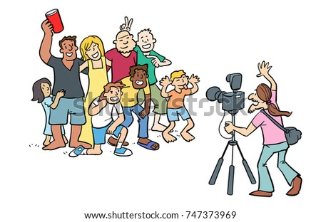 Cartoon of a photographer taking a picture of a group of people that are posing for the photo.