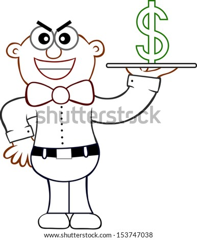 Cartoon of a sneaky waiter representing an expensive restaurant. - stock vector
