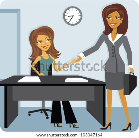 Cartoon of a woman interviewing for a job - stock vector
