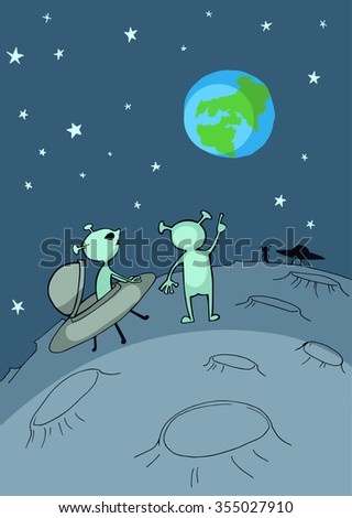 Cartoon of alien flying saucer landing on the Moon and looking forward to land on Earth - stock vector