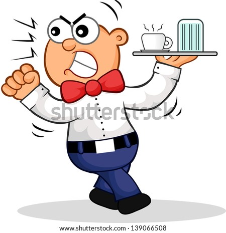 Cartoon of an angry waiter shaking his fist. - stock vector