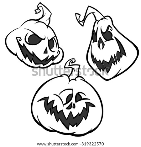 Cartoon of an Outlined Scary Halloween Pumpkins separated on white background - stock vector