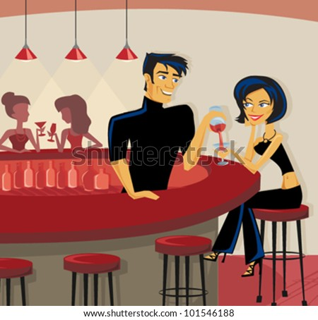 Cartoon of bartender pouring a drink - stock vector