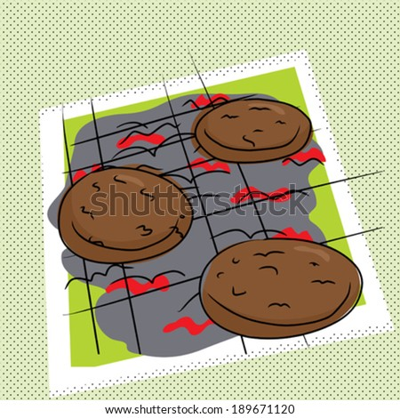Cartoon of burgers on abstract charcoal grill - stock vector