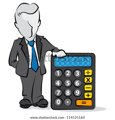Cartoon of businessman with a calculator. Financial concept - stock vector