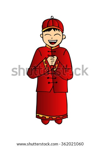 Cartoon of Chinese boy. Hand drawing illustration. - stock vector