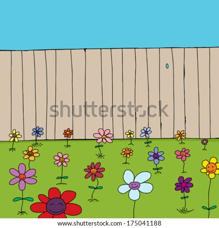 Cartoon of cute flowers in front of wooden fence - stock vector
