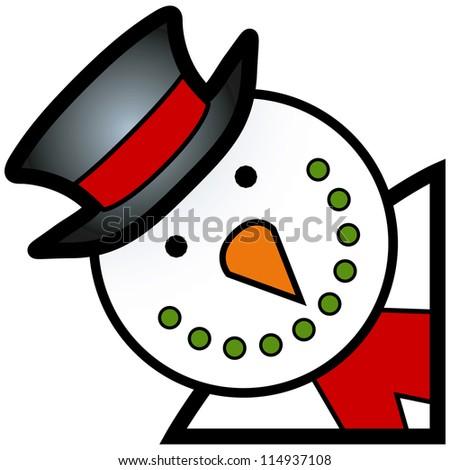 cartoon of happy smiling winter snowman character - stock vector