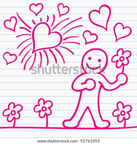 cartoon of men with flower and hearts