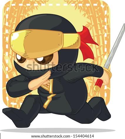 Cartoon of Ninja Holding Japanese Sword - stock vector