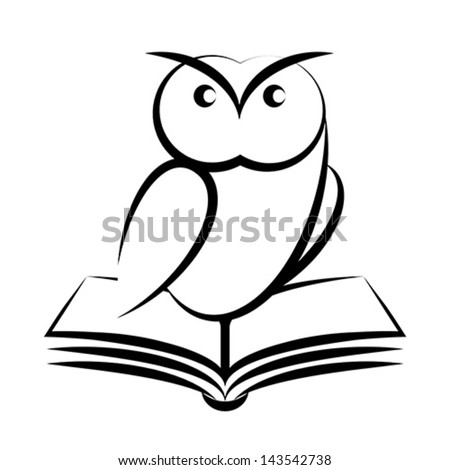 Cartoon of owl and book - symbol of wisdom isolated on white background - stock vector