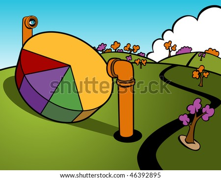 Cartoon of periscopes looking at a pie chart sitting out in the open.