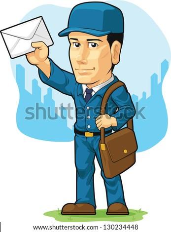 Cartoon of Postman or Mailman - stock vector