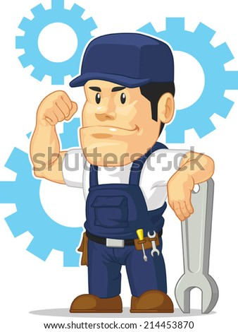 Cartoon of Strong Mechanic with Wrench - stock vector