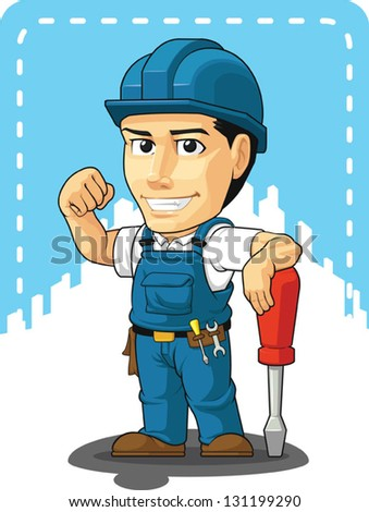 Cartoon of Technician or Repairman - stock vector