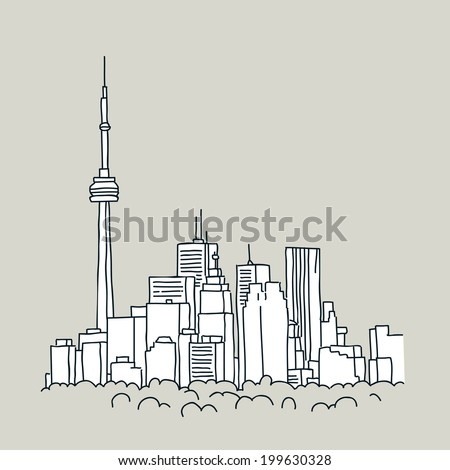 Cartoon of the downtown of the city of Toronto, Ontario, Canada. - stock vector