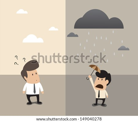 Cartoon of TWo businessman standing at same place but opposite weather above