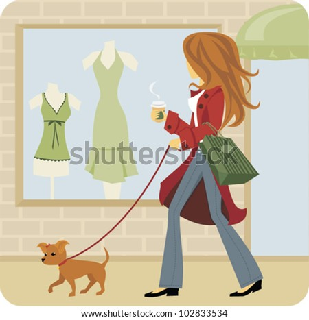 Cartoon of Woman window shopping with dog - stock vector