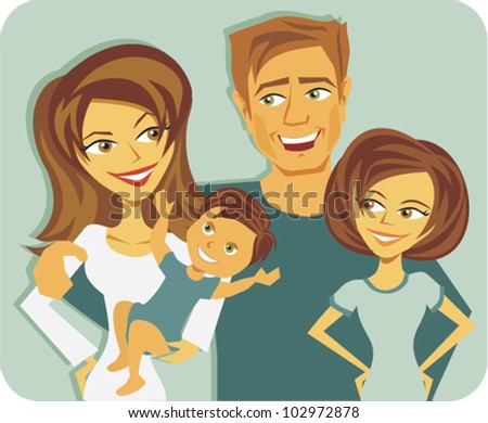 Cartoon of young family with baby - stock vector