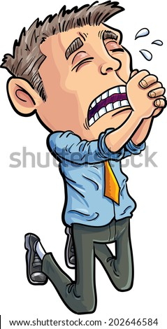 Cartoon office worker begging for his job. Isolated - stock vector
