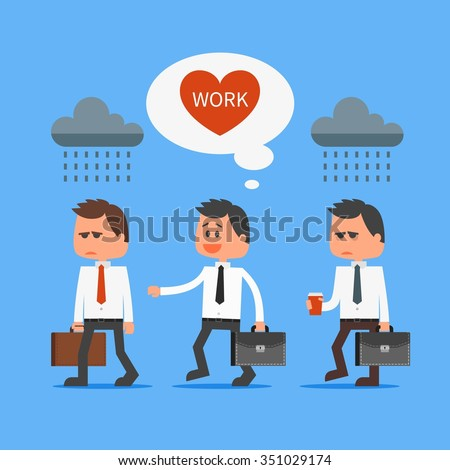 Cartoon office worker loves his work outstanding from crowd. Going to work vector concept illustration in flat style design. Man characters, clouds, message bubble, heart, going to work. - stock vector