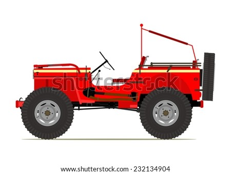 Cartoon offroad car. Vector illustration without gradients on one layer.  - stock vector