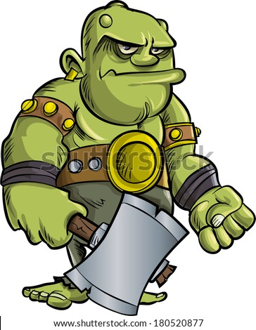 Cartoon ogre with a big axe.Isolated