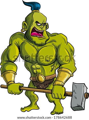 Cartoon ogre with a big hammer. isolated on white - stock vector