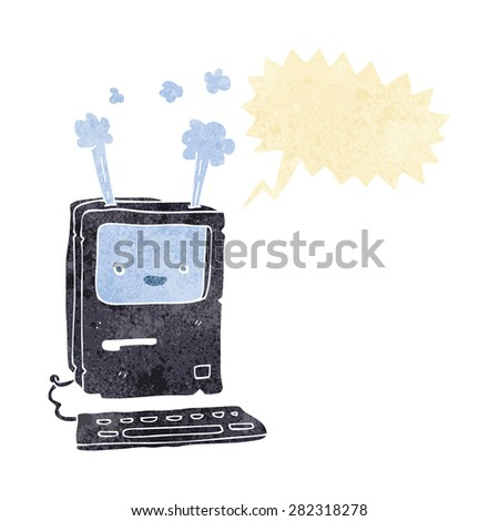 cartoon old computer with speech bubble - stock vector