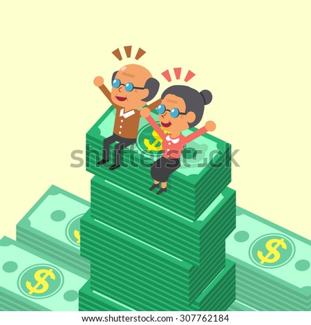 Cartoon old man and old woman sitting on money stacks - stock vector