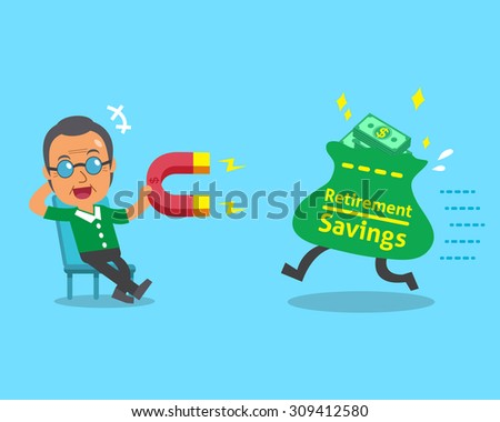 Cartoon old man using a magnet to attracts retirement savings bag - stock vector