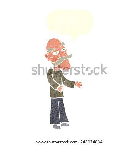 cartoon old man with mustache with speech bubble - stock vector