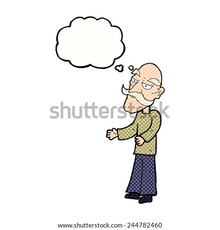 cartoon old man with mustache with thought bubble - stock vector