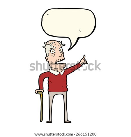 cartoon old man with walking stick with speech bubble - stock vector
