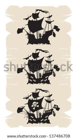Cartoon old pirate ship, vector - stock vector
