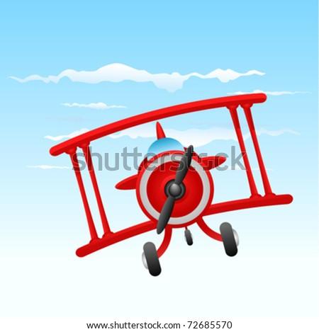 cartoon old plane - stock vector