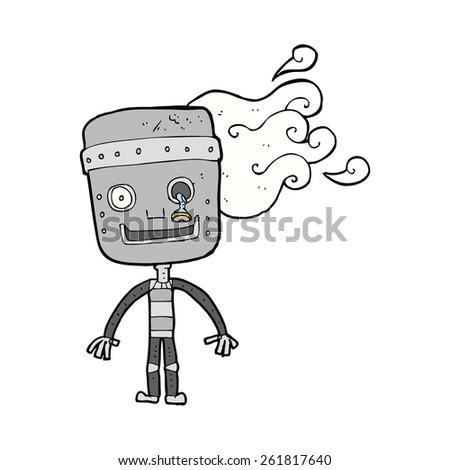 cartoon old robot - stock vector