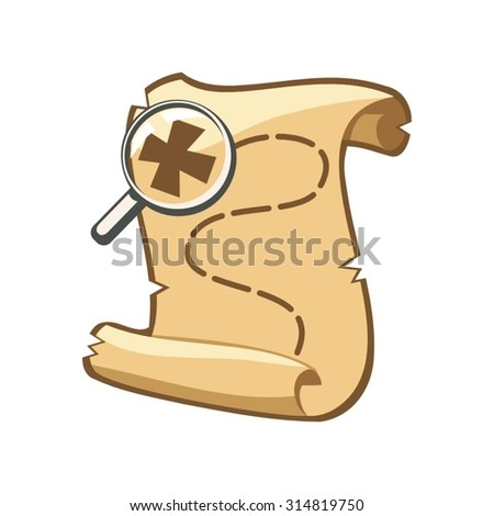 Cartoon old scroll with magnifying glass and a treasure map - stock vector
