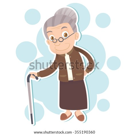 cartoon old woman stand with cane and smiling