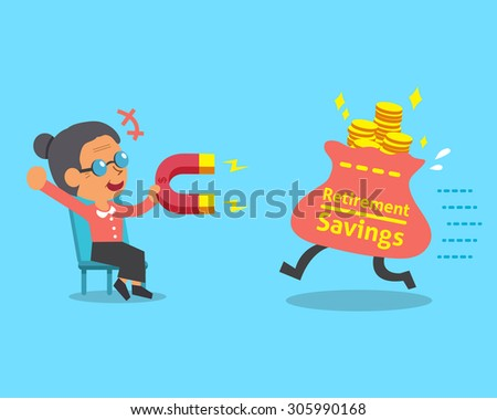 Cartoon old woman using a magnet to attracts retirement savings bag - stock vector